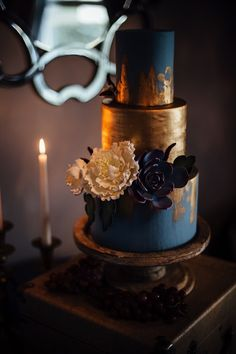 Vintage Style Winter Wedding Cake Navy + Gold