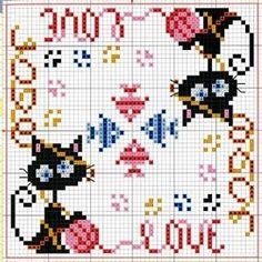 crazy black cat with yarn and fish biscornu cross stitch