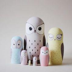 Owl matryoshka family. By Matryoshkamanya