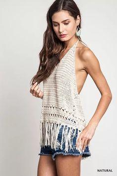 top crop flecos remera tejido crochet varios modelos