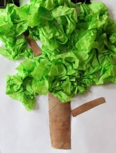 Tissue Paper Tree Earth Day Craft