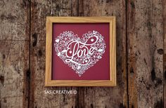 Silhouette Cameo SVG Papercutting file 'LOVE' Valentine's Day Wedding Anniversary Design from Samantha's Papercuts