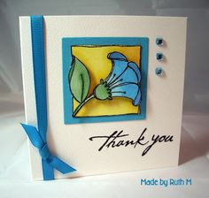 Flower Sparkle: CAS Posy Thank You Card for Jan