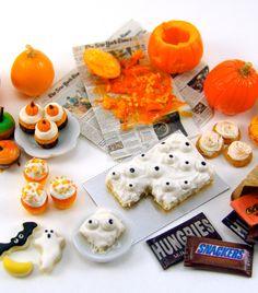 Dollhouse Miniature Halloween treats made from polymer clay