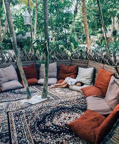 Boho patio lounge space