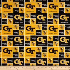 Collegiate Cotton Broadcloth Georgia Tech from @fabricdotcom  Cheer on the Yellow Jackets, your favorite college team, with this collegiate broadcloth! This fabric is perfect for quilting, apparel and home décor accents. Colors include black, white and gold. Logos appearing on this fabric are protected trademarks of the Georgia Institute of Technology. This product is intended for personal use only. Any unauthorized use is prohibited.