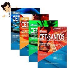 Compre agora sua Apostila Preparatória do Concurso CET Santos 2015, para um dos cargos de Nível Médio oferecidos, Digitador, Auxiliar de Administração e Operador de Transporte e Tráfego, ou do cargo de Nível Fundamental Ajudante de Manutenção e Apoio.