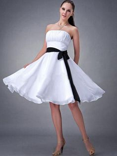 Empire Strapless Knee-length Chiffon Bridesmaid Wedding Party Dress SEM0015