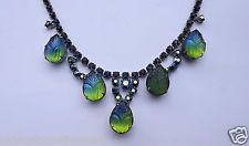 Molded Art Glass Leaf Stones JULIANA NECKLACE 2 Tone Glass~ AB Rhinestones~WEISS
