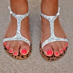 Adding glitter and glue is a fast way to add a little jazz to an old pair of sandals
