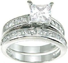Wedding Gift:Princess Cut Cubic Zirconia CZ Wedding and Engagement Ring Set in Sterling Silver