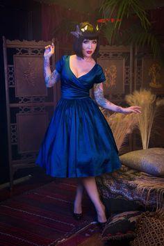 Pinup Couture Ava Swing Dress in Dark Blue Taffeta