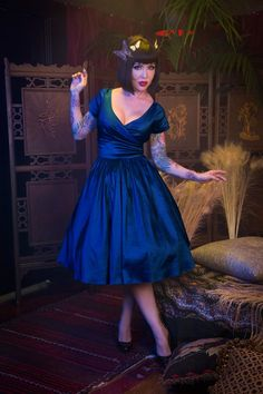 Pinup Couture Ava Swing Dress in Dark Blue Taffeta | Pinup Girl Clothing
