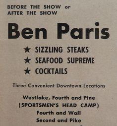 Ben Paris Steak Seafood Restaurant Seattle WA Vintage 1950s ORIGINAL PRINT AD Seattle Food, Steak And Seafood, Seafood Restaurant, Print Ads, 1950s, Patio, The Originals, Vintage, Design