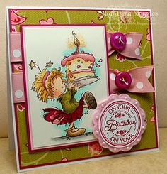 LOTV- Handmade birthday card in pink and green. Birthday Cards For Boys, Handmade Birthday Cards, Kids Cards, Craft Cards, Scrapbooking, Color Card, Copics, Card Tags, Cute Cards