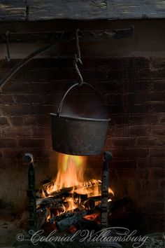 Powell House Kitchen with a cooking pot over the fire, Colonial Williamsburg