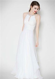 Long Chiffon Dress with Keyhole Detail