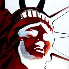 "Saatchi Online Artist Alba Lavermicocca; Painting, ""Crying Liberty - Tile II"" #art"
