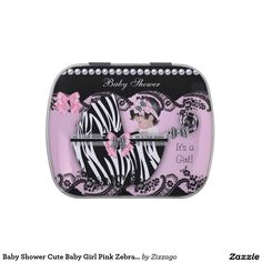 Baby Shower Cute Baby Girl Pink Zebra Lace Candy Tin