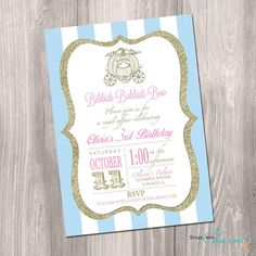 Cinderella Birthday Invitation - Princess Birthday Invitation - Bibbidi Bobbidi…