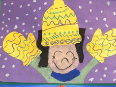 Kindergarten: Winter Self-Portrait, hat and mittens collaged, great lesson for portrait and season-themed artwork.