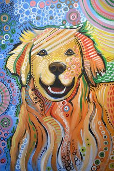 Max ... Abstract Dog Art...golden Retriever Print By Amy Giacomelli