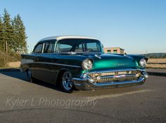 Big-Block 540ci powered '57 Chevrolet two-door sedan. http://www.chevyhardcore.com/news/homebuilt-hero-andy-millicans-street-legal-57-chevy-drag-car/. Kyler L Photography.