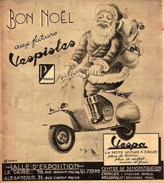 Another cool vintage ad. Santa on a Vespa. Great holiday find!