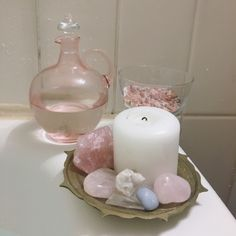 """sugarandspells: """" Bath ritual for peace, love & purification Ingredients: lavender, chamomile, himalayan salt, sea salt & moon water blessed under the super full moon that just passed ✨ 4 white candles & sage incense burn while I am accompanied."""