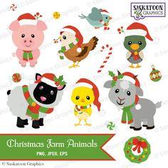 christmas animal farm clipart - Google Search