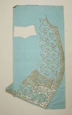 Interesting to see how the waistcoats were embroidered and pieced. Waistcoat front panels, c. 1760s, uncut. Elaborate metal thread embroidery and sequins on silk in sky blue.