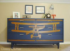 Classy Clutter: How to stencil a design on furniture {Biplane Dresser Makeover}