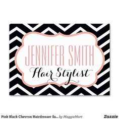 Pink Black Chevron Hairdresser Salon Appointment Business Cards