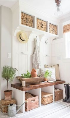Summer entry by nina hendrick design mudroom, house tours, entryway decor, French Country Rug, French Country Decorating, Country Chic, Decoration Entree, Basement Remodeling, Basement Ideas, Modern Basement, Entryway Decor, Cottage Entryway