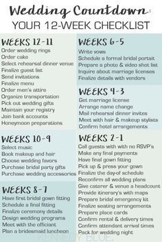 Your wedding countdown checklist for 12 weeks before the big day!
