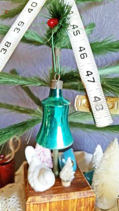 Vintage Glass Ornament Teal Blue Bell by TheVintiqueBoutique