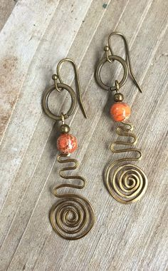 Copper Spiral Dangle Earrings with Natural Stone                                                                                                                                                                                 More