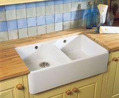 Villeroy and Boch Farmhouse 80 Double Bowl Ceramic Sink Ceramic Kitchen Sinks, Kitchen Taps, Narrowboat Interiors, Belfast Sink, Butler Sink, Sink Taps, Waste Disposal, Traditional Design, House Styles