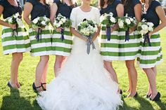 Striped Bridesmaid Skirts Wedding Inspiration: Bridesmaid Skirts.  We did pencil skirts..here will be some pins about how that looks
