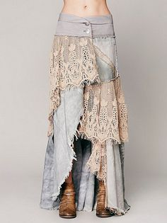 Normally I hate long jean skirts made from old jeans, but the lace could make it cute, if the denim is thin enough. Mode Hippie, Mode Boho, Denim And Lace, Diy Clothing, Sewing Clothes, Sewing Jeans, Gypsy Clothing, Remake Clothes, Estilo Hippie
