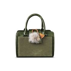 Pompon Suede Panel PU Leather Handbag ❤ liked on Polyvore featuring bags, handbags, www.zaful.com, handbag purse, purse bag, hand bags, pom pom bag and handbags bags