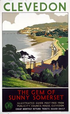 Clevedon The gem of sunny Somerset by Great Western Railway Vintage Railway Travel poster by Cusden This is truly an outstanding quality poster It is Posters Uk, Railway Posters, Poster Ads, Poster Prints, Train Posters, Somerset England, Somerset West, North Somerset, British Travel