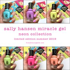 Another neon collection for Summer This one is the Sally Hansen Miracle Gel Neon Collection that should be in-store all over the place as of right, right now. Glitter Gel Nails, Neon Nails, Gel Nail Tips, Manicure Ideas, Neon Nail Colors, Gel Nails French, Nail Polish Collection, Sally Hansen, Mani Pedi