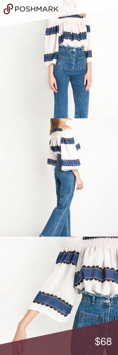 Final Sale✨ Off the Shoulder Bell Sleeve Top NWT boutique item. This striped top features a sublimated print design, 3/4 bell sleeves, an off the shoulder silhouette, and a relaxed fit. Pair this baby with some high-waisted distressed denim and some brown mules! Material is slightly sheer.  Material: Polyester/Spandex Color(s): Blue/Black/White Label: Haoduoyi Handwash Imported✖️NO TRADES ✖️NO LOW BALL OFFERS ARE ACCEPTED  ✔️Same Business Day Shipping (3pm EST) amannequin Tops Blouses