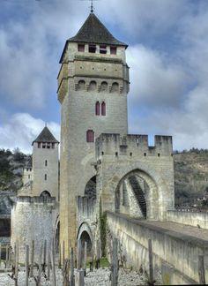 Medieval bridge - Pont Valentre - Cahors, France 05  by HermitCrabStock