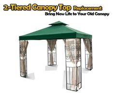 """Brand New MTN Replacement Two-Tiered Patio Garden Gazebo Canopy Top 10'x10' - Green by MTN Ourdoor Canopy Top. $49.95. Polymer coating for protection against UV rays from sun and increased durability.. Anti-rust brass grommet rings to ensure proper water drainage. The top tier measures 36"""" x 36"""", bottom tier measures 120"""" x 120"""". Designed and fit for most ofsquare gazebo (not for hexagon gazebo). Velcro straps allow easy installation and attachment to gazebo. This is a brand ..."""