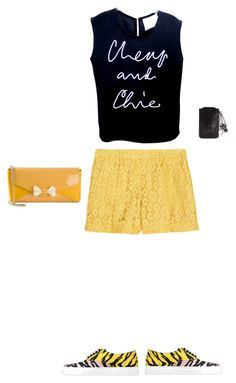 """""""Yellowish Black"""" by wildflowerbyvivi on Polyvore featuring Moschino Cheap & Chic"""