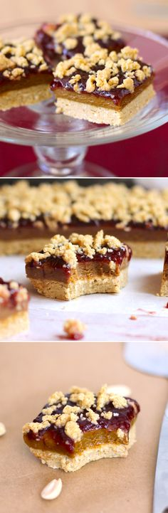 Peanut Butter & Jelly Shortbread Bars... made HEALTHY! Oh yes. Soft, sweet, fudgy, rich and decadent, yet totally nutritious, refined sugar free, high protein and gluten free. No baking required! These PB&J Shortbread Bars beat sandwiches ANY DAY ;)