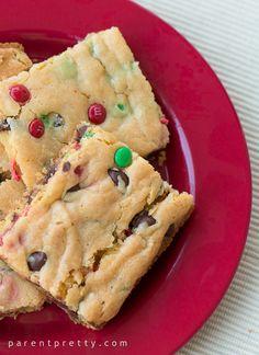 Cake Mix Cookie Bars. Yellow cake mix box, instant vanilla pudding, chocolate chips...mix...bake 20-30 minutes... Yum
