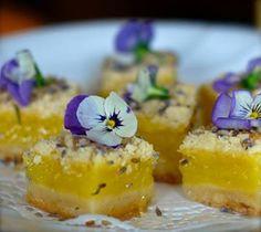 lavender and viola garnished lemon bars